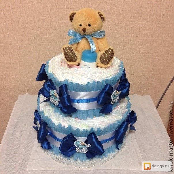 Торт для мальчика из памперсов своими руками пошагово фото