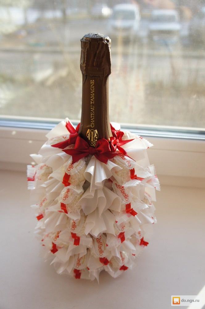 Букеты из конфет и шампанского своими руками мастер класс