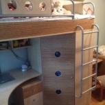 Детская кровать-чердак со шкафом И столом Ж М, Красноярск